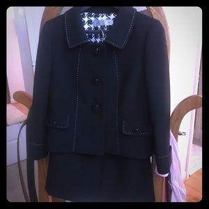 Tahari black suit with white stitching